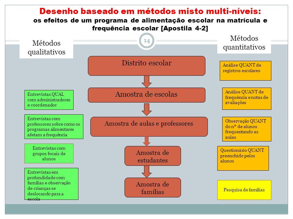 Desenho baseado em métodos misto multi-níveis: os efeitos de um programa de alimentação escolar na matrícula e frequência escolar [Apostila 4-2]
